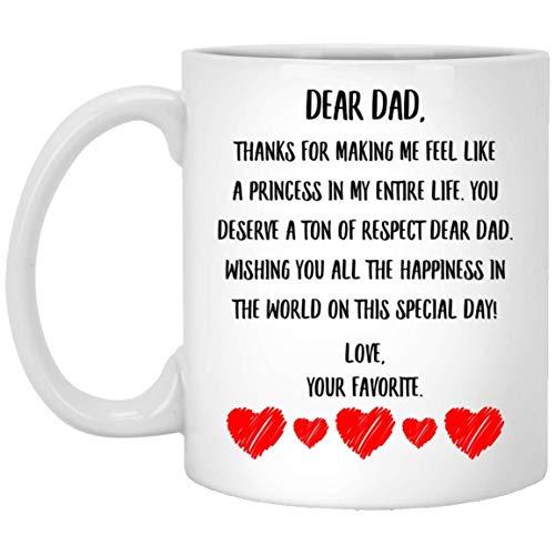 N\A Mensaje del día del Padre para papá deseándote Toda la Felicidad del Mundo en Este día Especial Taza de café con Leche de 11 oz