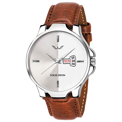 LOUIS DEVIN Analogue Men's Watch (Silver Dial Brown Colored Strap)