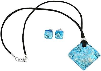 GlassOfVenice Juego de collar y pendientes de cristal de Murano con reflejos venecianos, color plateado