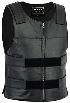 Mara Leather ML34611 Men Bullet Proof Style Vest  S - 5XL   3XL  Black