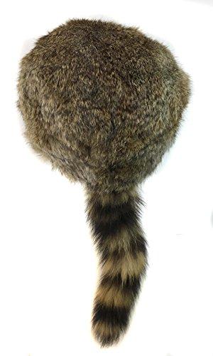 surell Coonskin Davy Crockett Hat - Rabbit Fur Crown - Raccoon Tail Hat Brwon
