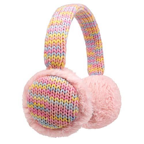 Zeltauto Kinder-Ohrenschützer, gestrickt, verstellbar, für den Winter, für Jungen und Mädchen Gr. 85, Pink Furry