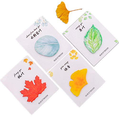 Funny live 12 Pads Simulation Leaf Sticky Notes,Message Note Sticky Note Memo Notes Pads Office Paper Stickers Reminder Desktop Note Stickers To Do List,4 Patterns X 3, 30 Sheets/Pad, Total 360 Sheets