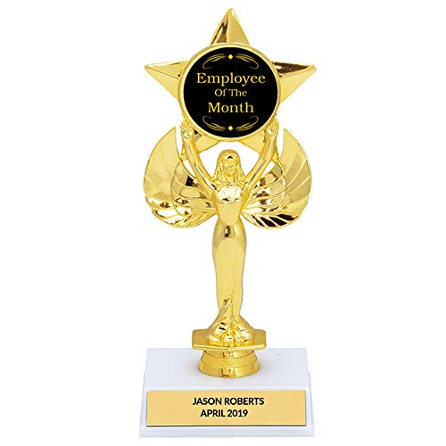 Customizable Employee of The Month Trophy, Custom Engraving, 8 1/2 Inch Tall