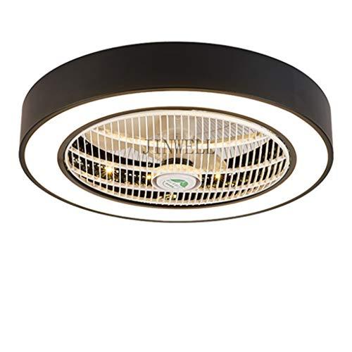 Fan Licht LED Deckenleuchte Nordic Schlafzimmer nach Hause unsichtbare Deckenventilator Licht Restaurant Macaron Wohnzimmer mit Fernbedienung leise Deckenventilator Licht 60CM