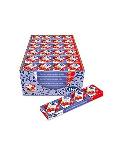 Hero Poker Confettura di Ciliegie Rosse, 30 confezioni da 100g (4 monodosi x 25 gr), marmellata e confettura extra, frutta di alta qualità, senza conservanti e senza coloranti