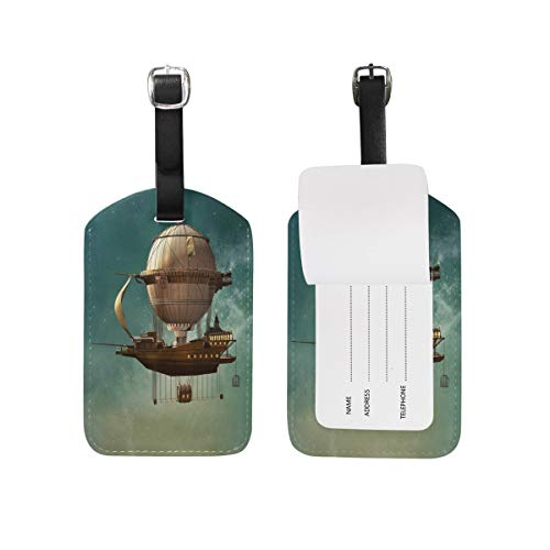 Funny 3D Steampunk Hot Air Balloon Hipster Luggage Tag for Baggage Suitcase Bag Travel Label Leather 1 Piece