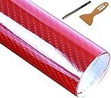 LZLRUN Red 6D Carbon Fiber Stickers High Gloss Carbon Fiber Vinyl Film Car Interior Waterproof and Anti-Scratch Sticker (1ft x 5ft)