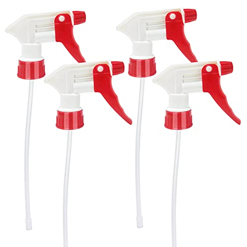 Plastic Spray Bottle Nozzle Heavy Duty Spraying Bottle Replacement Part Leak Proof Mist Water Bottle Spray Nozzle for Chemical Cleaning Solutions All-Purpose Adjustable Head Sprayer 4PCS (Red)