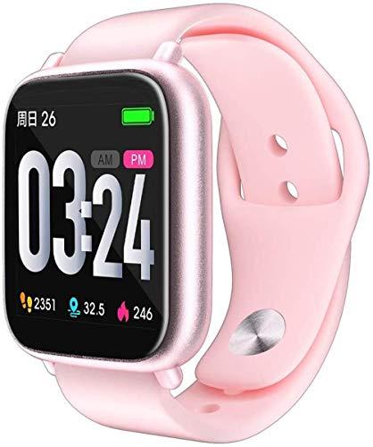 Pulsera inteligente de pantalla completa táctil, frecuencia cardíaca y presión arterial, pulsera inteligente impermeable para hombres y mujeres, varios deportes, color rosa