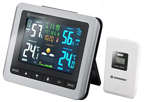 Bresser Wetterstation Funk mit Außensensor MeteoTemp WTM mit Innen und Außenthermometer, Hygrometer, Luftdruck, Mondphasen und Wettervorhersage