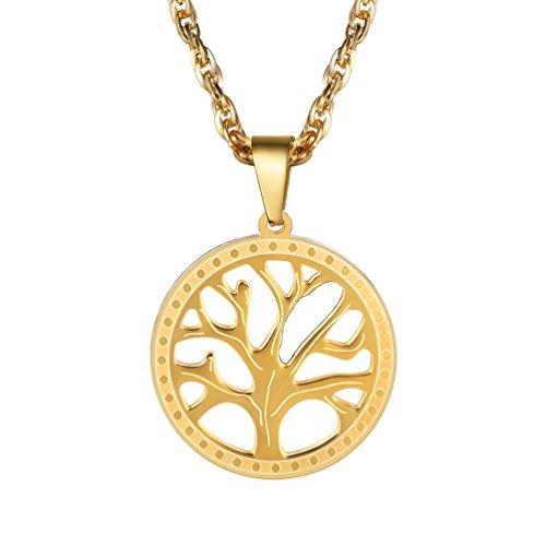 PROSTEEL Anhänger Halskette, Edelstahl Baum des Lebens Anhänger mit 55cm Singapurkette, Geschenk für Damen und Herren, Gold
