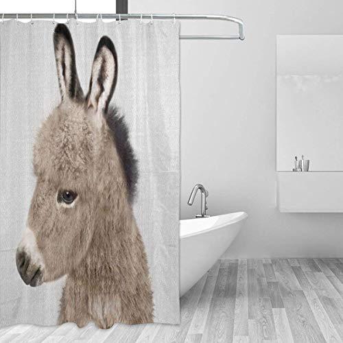 AdaCrazy Esel Hintergr&muster Duschvorhang 3D-Druck Wasserdicht beschichtetes Bad aus Polyestergewebe mit 12 Haken 71 Zoll
