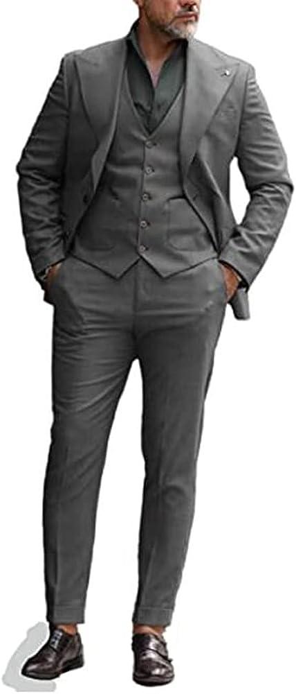 Men's Business Suit Slim Fit 3 Piece Blazer Vest Pants Set Wedding Party Tuxedos
