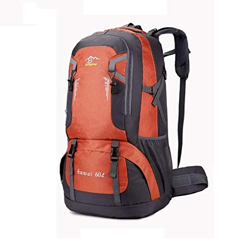 JOSS 大容量 60L アウトドア リュック 登山用 バックパック 多機能 旅行 防災 (オレンジ)