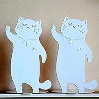 かわいい猫のブックエンド おしゃれ 本立て 金属 ブックスタンド 学校 図書館 棚 オフィス 子供 卓上収納 白い