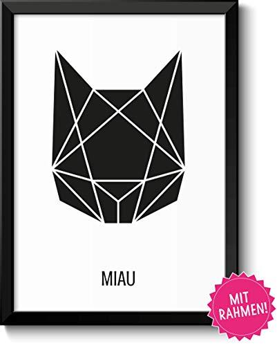Abstrakte Katze Bild im schwarzem Holz-Rahmen Geschenk Geschenkidee für alle Katzen-Liebhaber