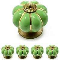 Ganzoo - Tiradores para muebles con corona de porcelana, con adornos dorados, diseño vintage (juego disponible en muchos colores diferentes), Verde