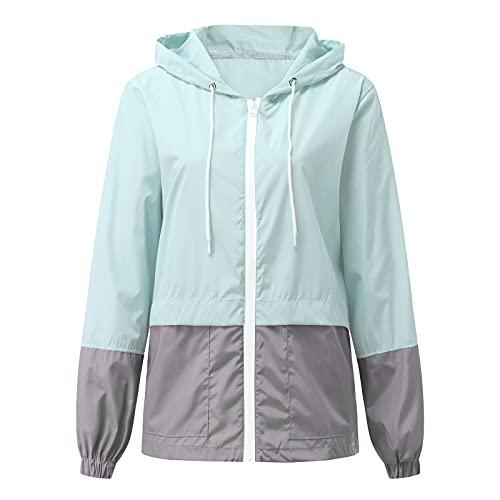 Chaqueta de lluvia para mujer, impermeable, con capucha, ligera, cómoda, para senderismo, al aire libre, cortavientos, azul, S