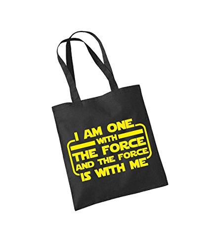 clothinx - I am one with the force - Baumwolltasche Schwarz, langer Henkel