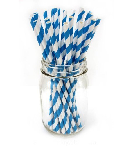 Striped Paper Straws - Navy Blue White - 7.75 Inches - 100 Pack - Outside the Box Papers Brand