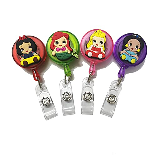 4pcs Retractable Badge Holders. Cartoon Cute Princess Retractable Badge Reel, Badge Reel Holder for Children and Nurses, Clip-on Name Badge Holder for Office