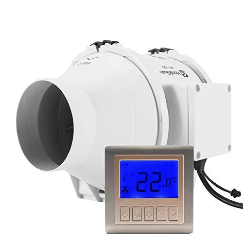 Hon&Guan Rohrventilator Abluftventilator Timer mit Intelligenter Schalter für Zimmer Badezimmer Küche (Ø100mm)