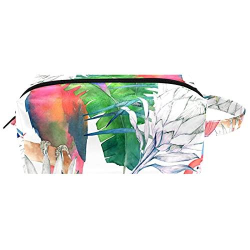 Make Up Tasche Kulturbeutel Tragbar Reise Schminktasche Kosmetiktasche Mit wasserbeständig und strapazierfähigem Papageien Protea und Blätter 21x8x9 cm