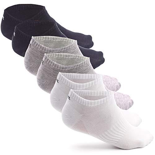 LEMIEL® exklusive Herren & Damen Sneaker Socken aus Bambus (6x Paar) | Maximal Atmungsaktiv und Ergonomisch (M, W/S/Grau)