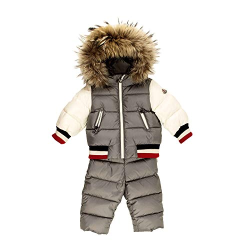Moncler JUNIOR BOY SNOW SUIT 2 PIECES CODE SANAZ 42 951 7030625 9/12 MESI - MONTHS GRIGIO/BIANCO - GREY/WHITE