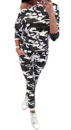 Mieuid dames trainingspak lente herfst joggingpak elegant vintage lange mouwen schoudervrij camouflage bovenstuk leuke chic en lange broeken sportkleding set
