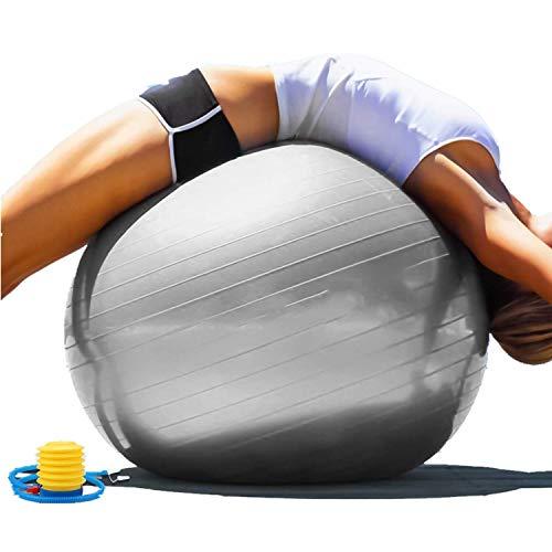 Pelota de yoga antipinchazos, pelota de gimnasia de 55 cm, 65 cm, 75 cm, 85 cm, extra gruesa con bomba, para fitness, embarazo, parto físico, pilates, color gris