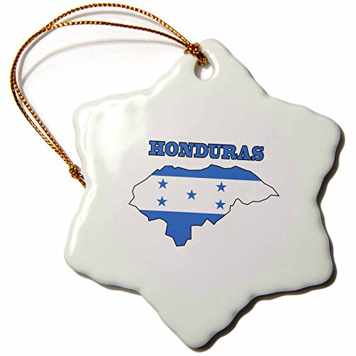 3dRose orn_58777_1 Honduran Flag in The Outline Map and Word Honduras Snowflake Decorative Hanging Ornament, Porcelain, 3-Inch