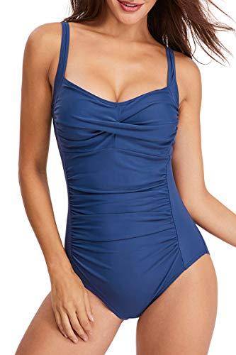 fitglam Damen Einteiler Badeanzug, gerüschte Bauchkontrolle, Moderate schlankmachende Monokini Badeanzug - Blau - X-Large