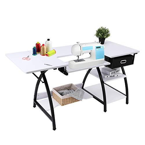 BAHOM 2 in 1 Adjustable Sewing Craft Table Desk with Storage Drawer, Multifunctional Craft Cutting Table with 2 Shelves, Sturdy - White