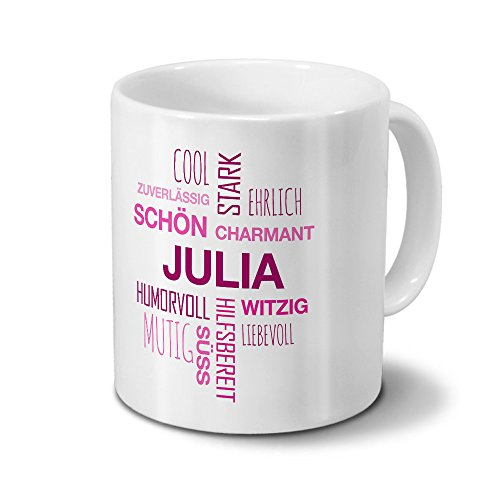 printplanet Tasse mit Namen Julia Positive Eigenschaften Tagcloud - Pink - Namenstasse, Kaffeebecher, Mug, Becher, Kaffeetasse