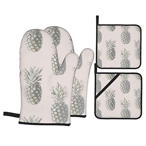 MZZhuBao - Set di guanti da forno e presine con ananas, resistenti al calore, guanti da forno a microonde, per cottura e barbecue