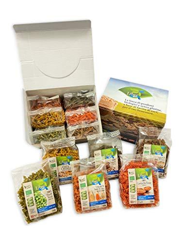 Pasta di legumi Bio senza Glutine **Box Premium 6pz** Ceci e Curcuma,Piselli Verdi, Semi di Zucca, Lenticchie Rosse, Semi di Lino e Mix Legumi