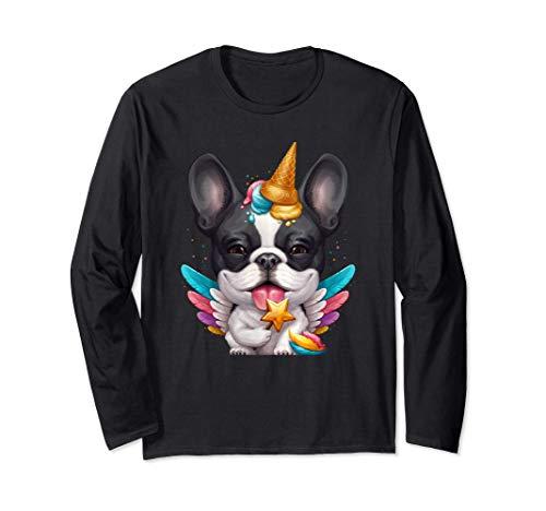 Brindle Pied French Bulldog Ice Cream Unicorn Long Sleeve T-Shirt