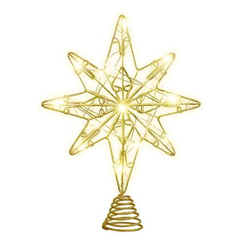 OSALADI Weihnachtsbaum Topper Beleuchtet Acht Spitzen Stern Baum Topper mit Lichterketten Eisendraht Baumkronen Ornament für Weihnachtsbaum Party Indoor Dekoration (Gold)