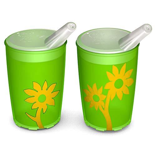 Ornamin Becher mit Anti-Rutsch Blume 220 ml grün/gelb und Schnabelaufsatz 2er-Set (Modell 820 + 806) / Schnabelbecher, Trinkbecher, Kinderbecher
