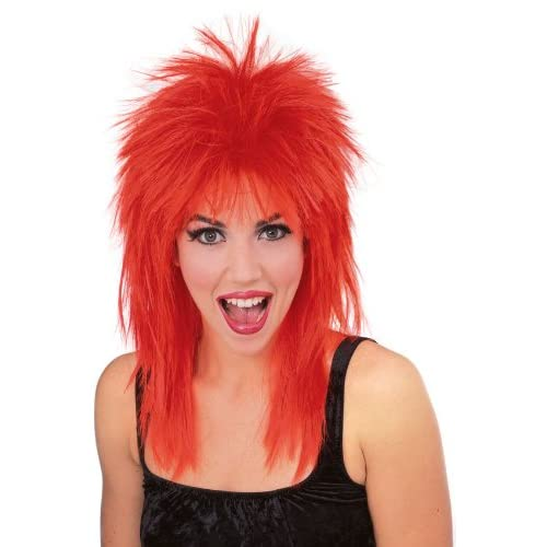 Amazon.com: Rubies Rock Star Spiked Wig, Red, One Size ...