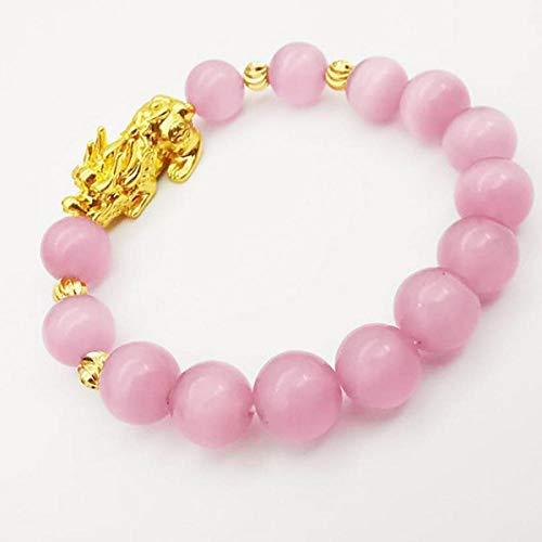 AAWAG Pulsera de Ojo de Tigre Natural BeadPi Xiu Fengshui, joyería elástica Ajustable, Pulsera de Riqueza para Mujeres y Hombres, Amuleto para atraer Riqueza y Buena Suerte-Rosa 12mm