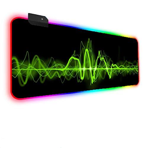 Green Light Music Melody Alfombrilla de ratón para Juegos XXL 14 RGB Retroiluminación Alfombrilla de ratón para Juegos con Superficie y Base de Goma Antideslizante para PC portátil (900×400×4mm)