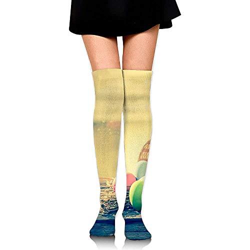 Uridy Merce nel carrello delle uova di Pasqua sui calzini alti del ginocchio delle donne di legno di legno di colore calzini divertenti della gamba del tubo