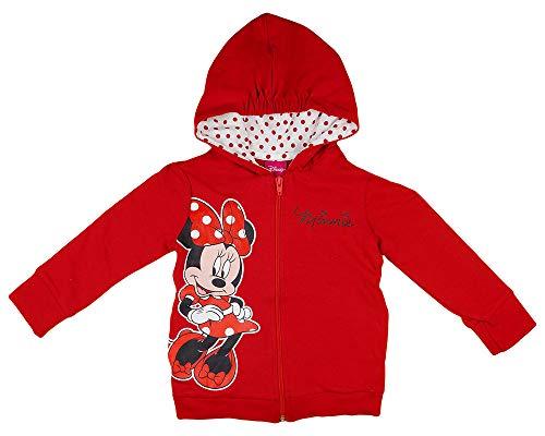 Minnie Mouse Mädchen Kapuzenpullover in Rot und Grau in Größe 80 86 92 98 104 110 116 122 Baumwolle Disney Reißverschluß-Jacke Langarm Pulli Farbe Modell 3, Größe 86