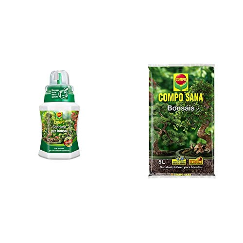 Compo 1200602005 - Fertilizante bonsái, 250 ml, color verde, 6,3 x 7 x 15,5 cm + Sana Bonsáis con 8 semanas de abono, de Interior y Exterior, Substrato de Cultivo, 5 L, 37x23x5.5 cm