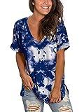 Juniors Tops Novelty Tie Dye Clothes for Women Summer Tee Shirt Side Split Navy XL