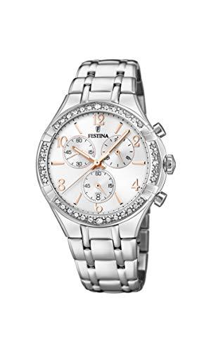 Festina Damen Chronograph Quarz Uhr mit Edelstahl Armband F20392/1