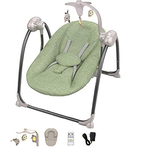 GTBF Bebé Plegable Silla Mecedora eléctrica Silla recién Nacida Silla de Swing Cuna guardaespaldas 5 Metros Control Remoto con Juguete Educativo 12 música